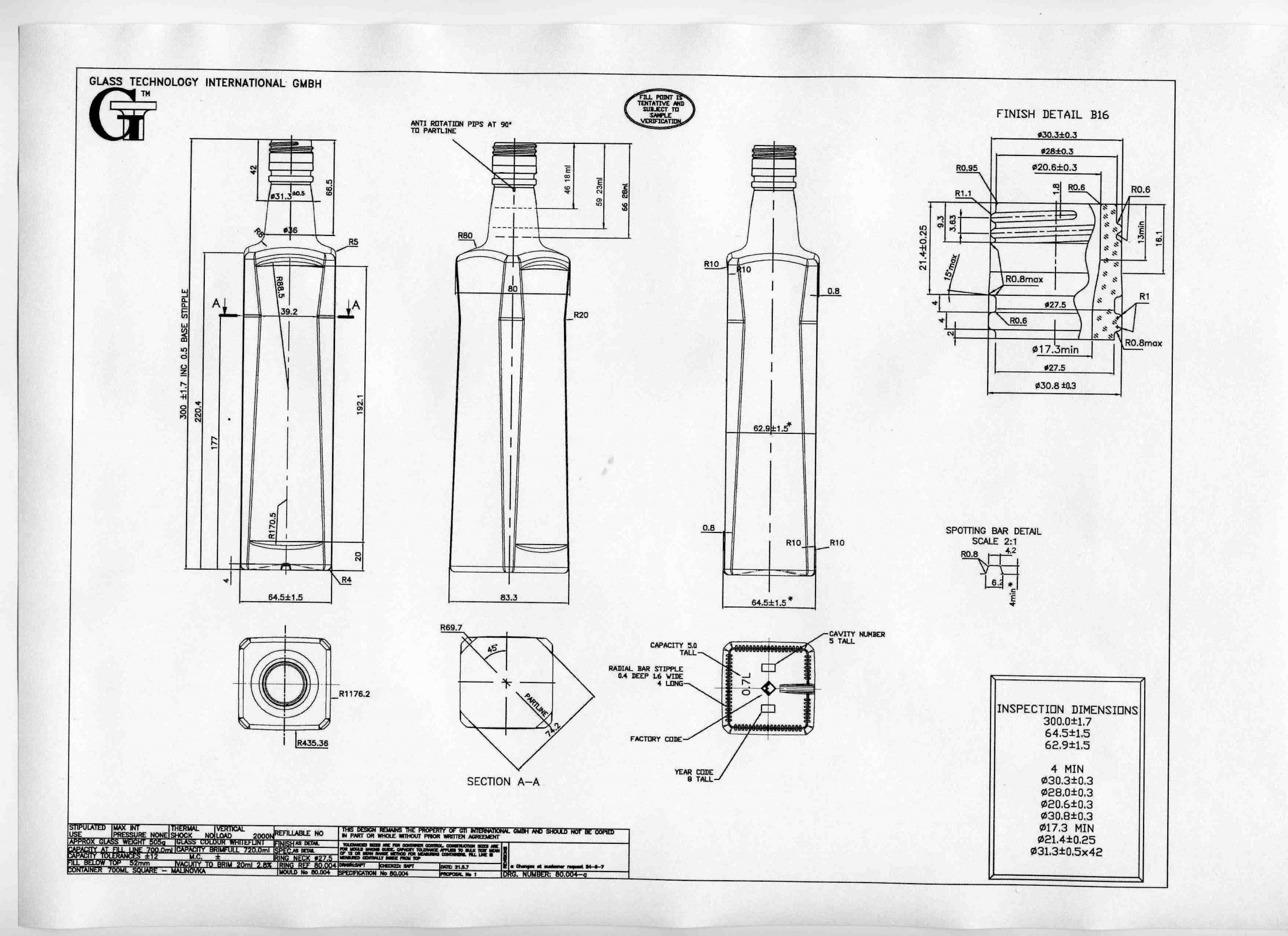 Стеклобутылка Олимп-700